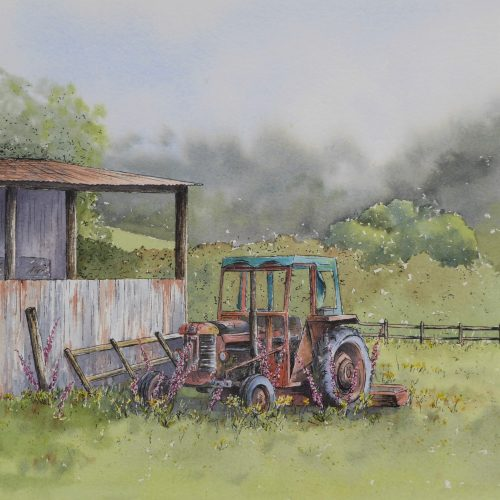 Farmyard Corner - a tractor greetings card