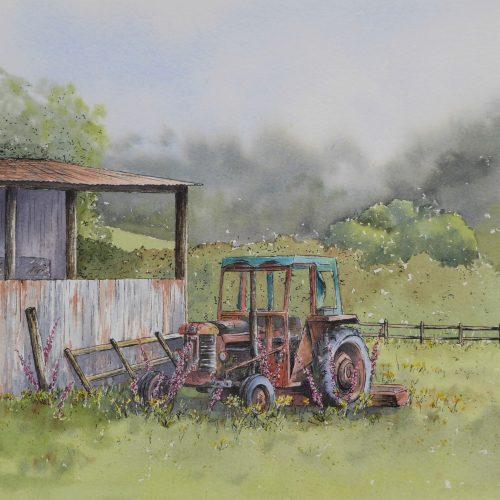 Farmyard Corner - a tractor greetings card