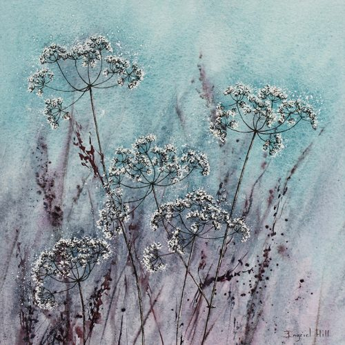 Lace amongst Grass - a contemporary Cow Parsley painting