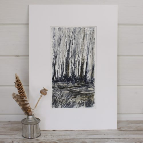 Winter - Woodland series Mixed Media Painting with feathers