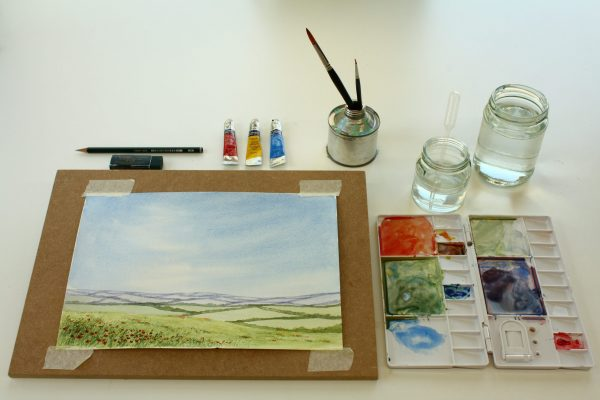 'Paint Your Own... Poppy Meadow' Watercolour Letterbox Kit