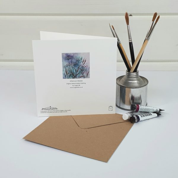 Afternoon Breeze - a contemporary floral greetings card rear view