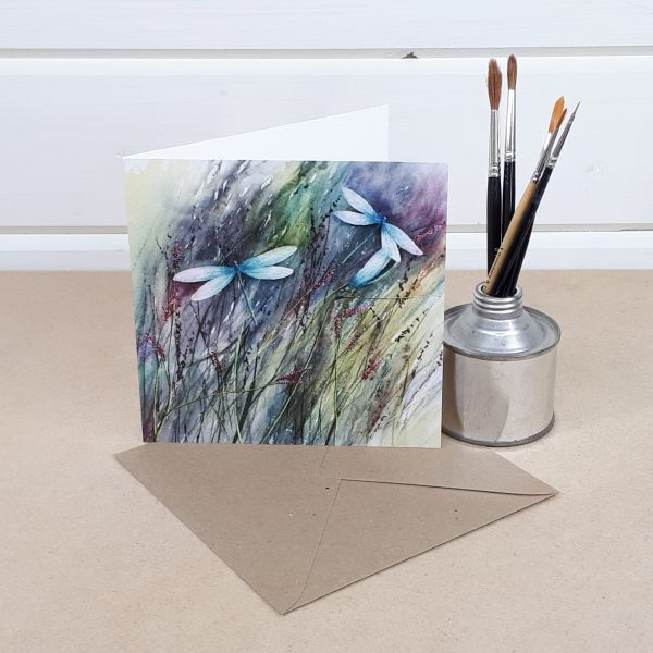 Between The Reeds - a dragonfly greetings card