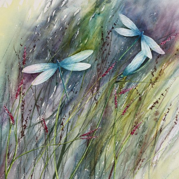 Between The Reeds - a dragonfly painting