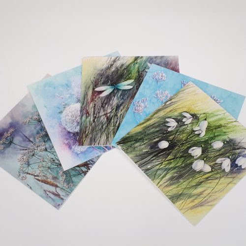 Contemporary Floral Collection of blank greetings cards
