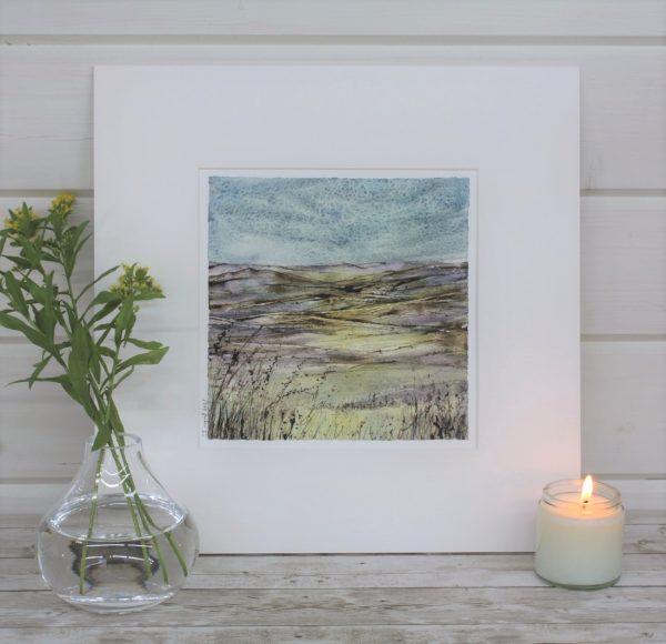 Enjoying the Moment - Mini Landscape Series Mounted Mixed Media Painting