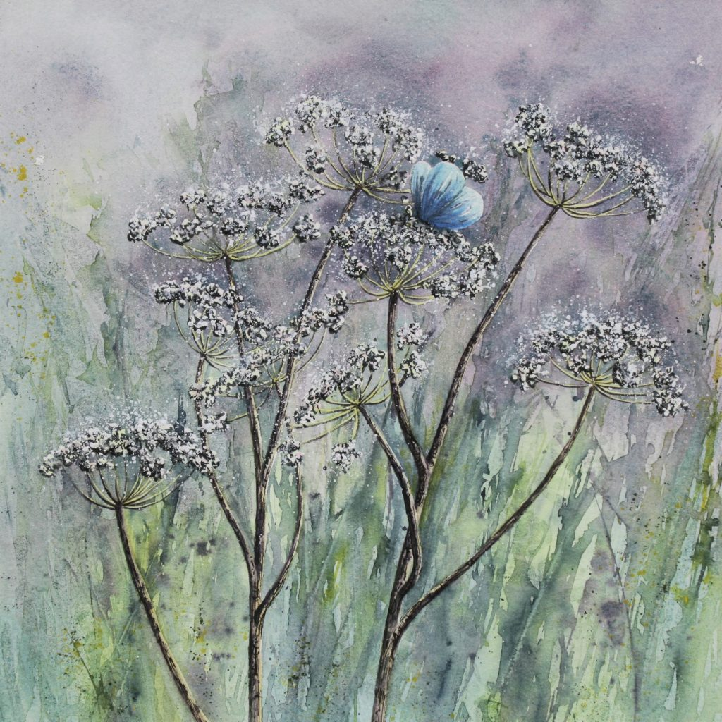 Fleeting moment - a watercolour and mixed media painting showing a butterfly resting on cow parsley flowers
