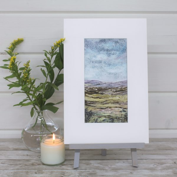 Heather Moor - Mini Landscapes Series, mixed media mounted painting
