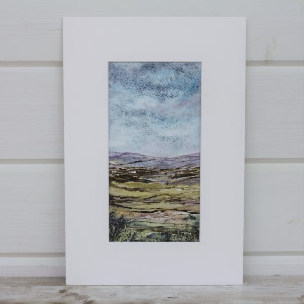 Heather Moor - Mini Landscapes Series, mixed media painting mounted