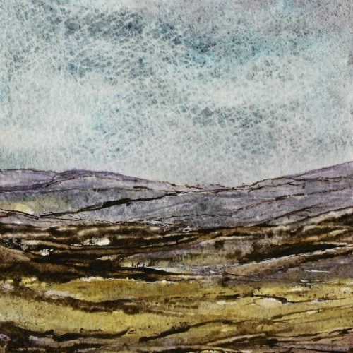 Painting of a moor with heather in flower