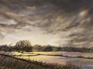 Atmospheric mixed media landscape painting