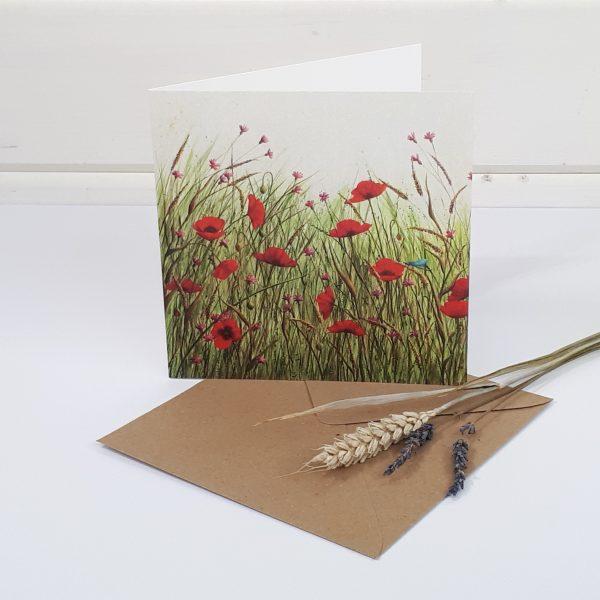 Meadow - a poppy greetings card