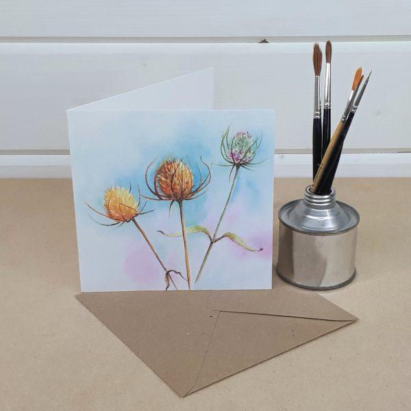 Three Teasels - a teasel greetings card