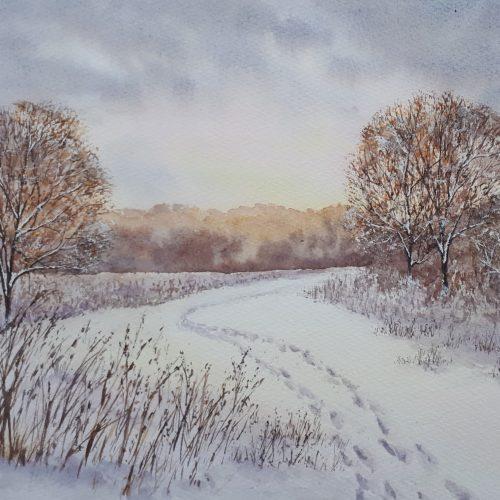 Winter's Walk - a snowy greetings card