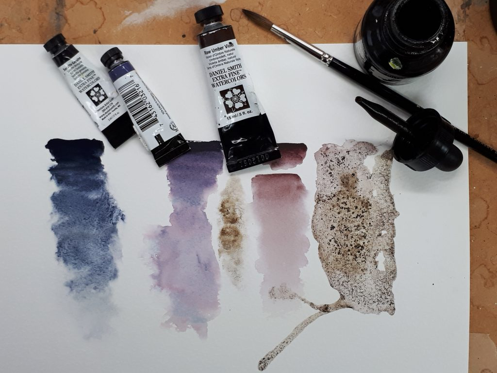 Daniel Smith granulating watercolours and sepia ink