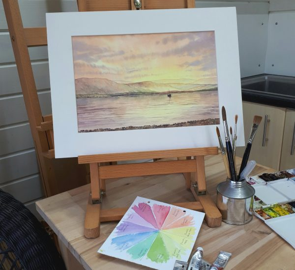 The finished sunset watercolour workshop painting