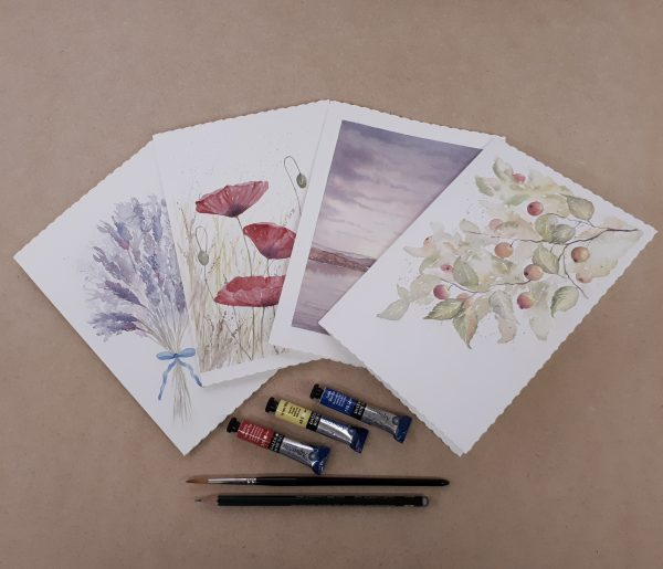 Examples of individually painted cards