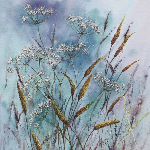 Afternoon Breeze - a contemporary painting of cow parsley and grasses.