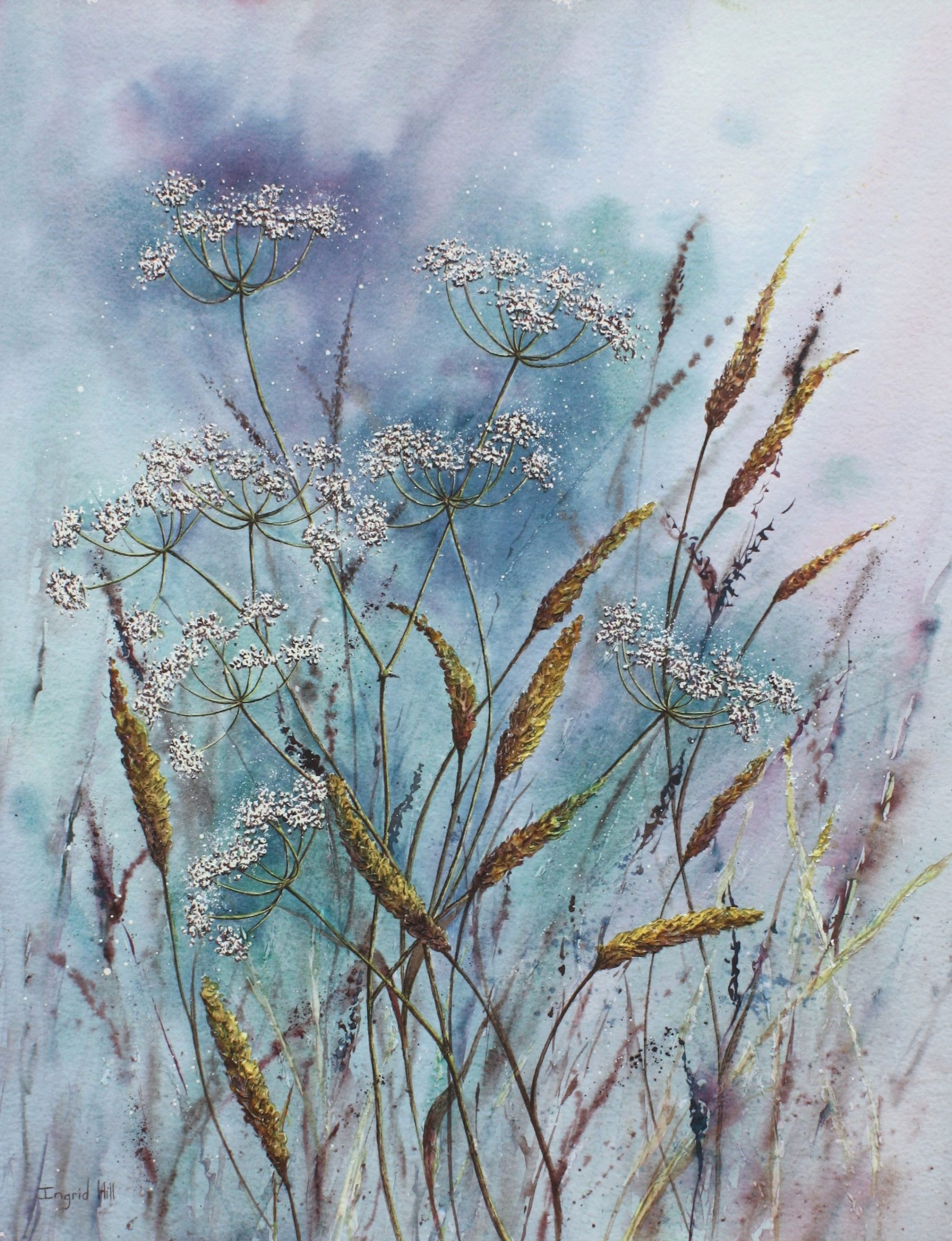 Textured mixed media painting of Cow Parsley