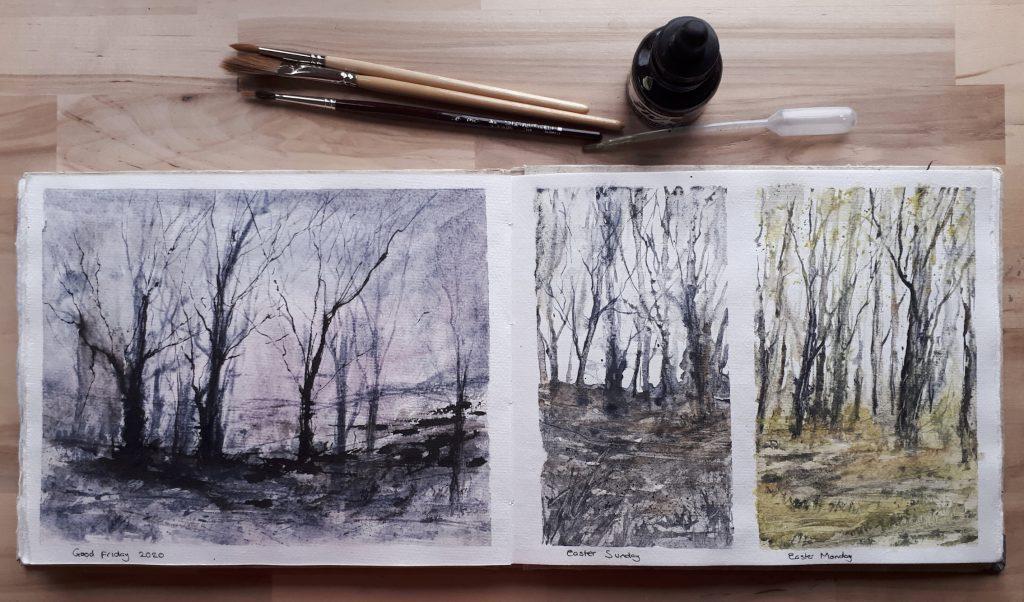 Mixed media woodland studies in Khadi sketchbook