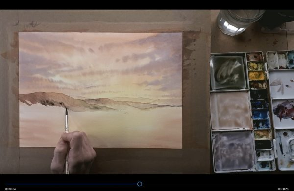 Image of painting the sunset watercolour scene