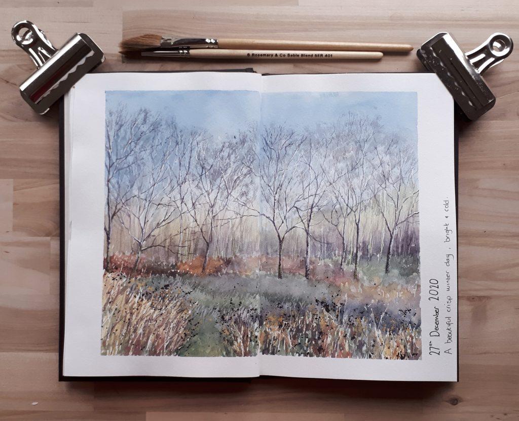 Woodland sketch in Strathmore 500 series art journal
