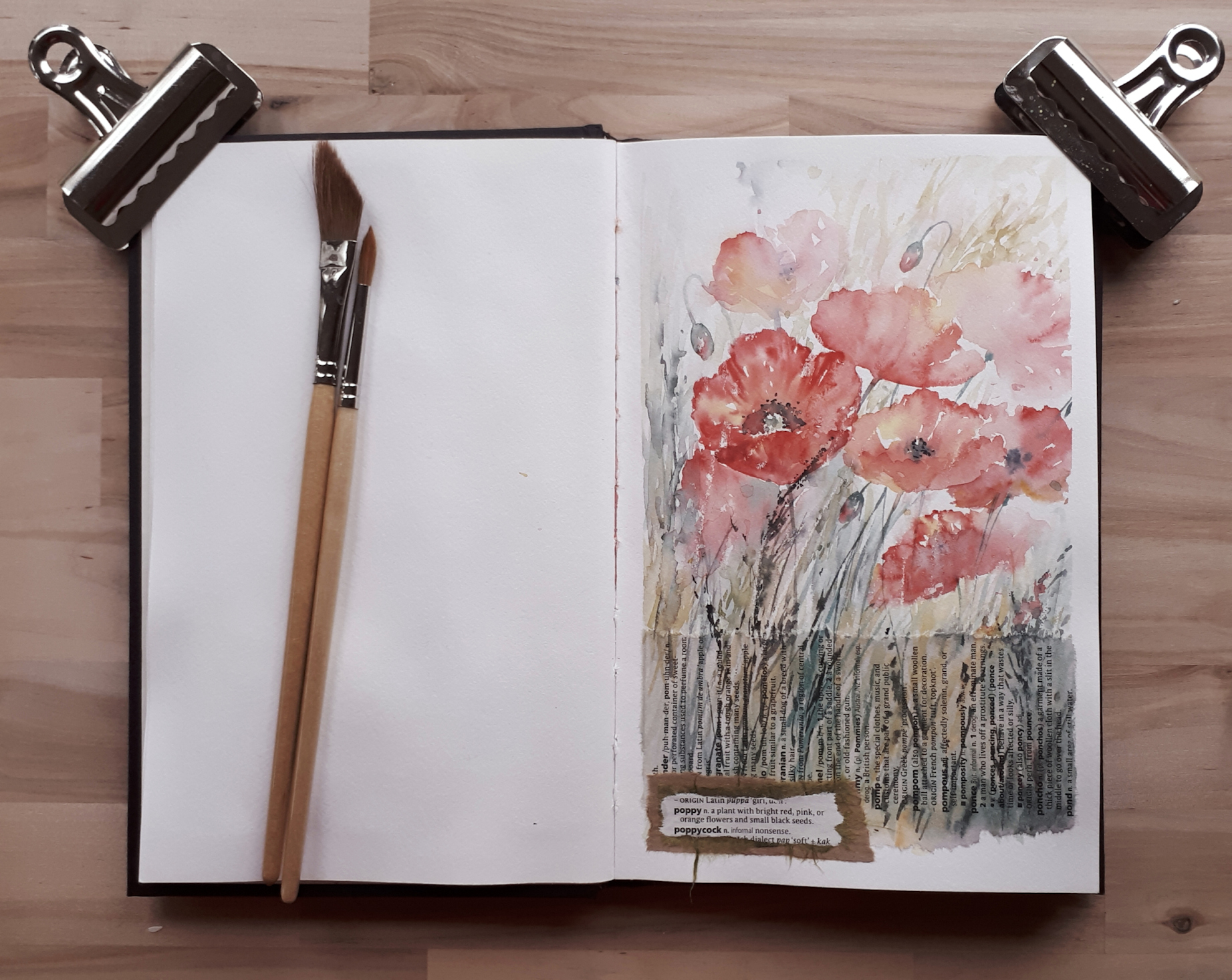 Poppy sketch in Strathmore 500 series sketchbook