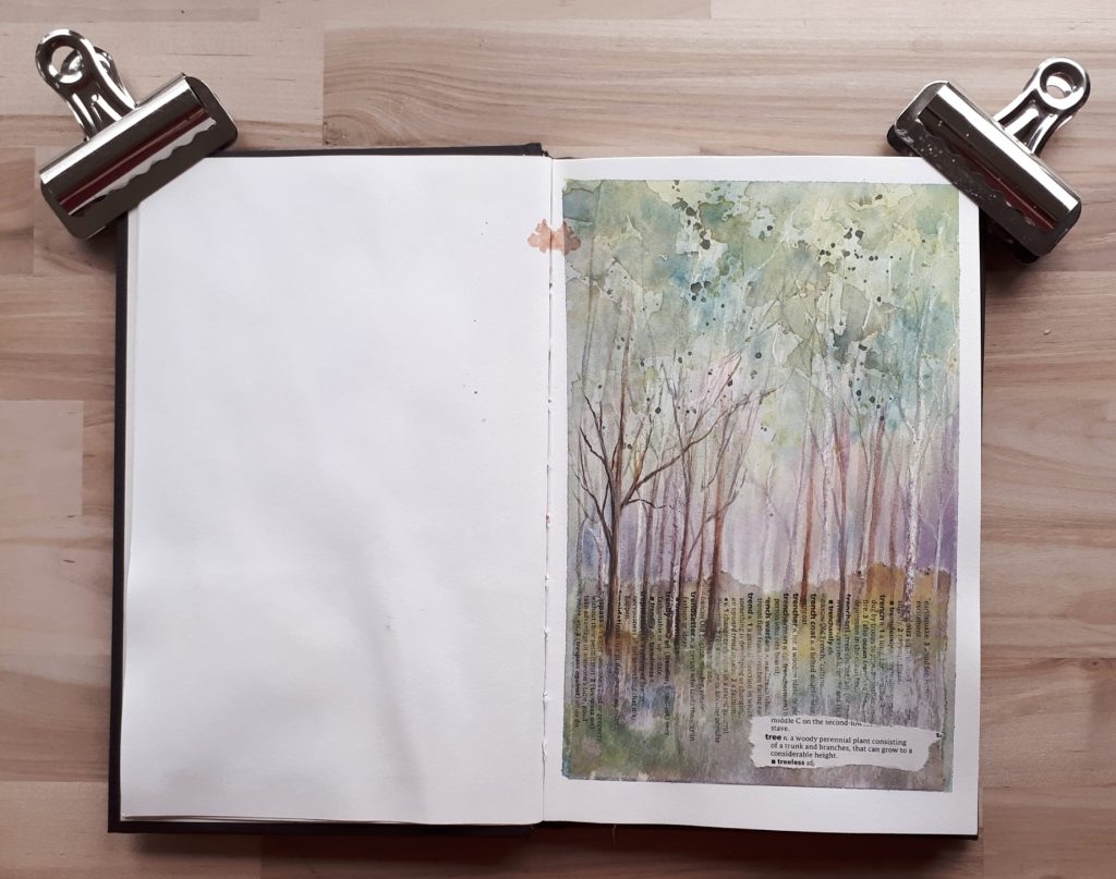 Woodland sketch in Strathmore 500 series sketchbook