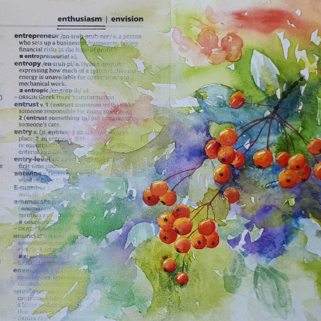 Leaves and berries sketch