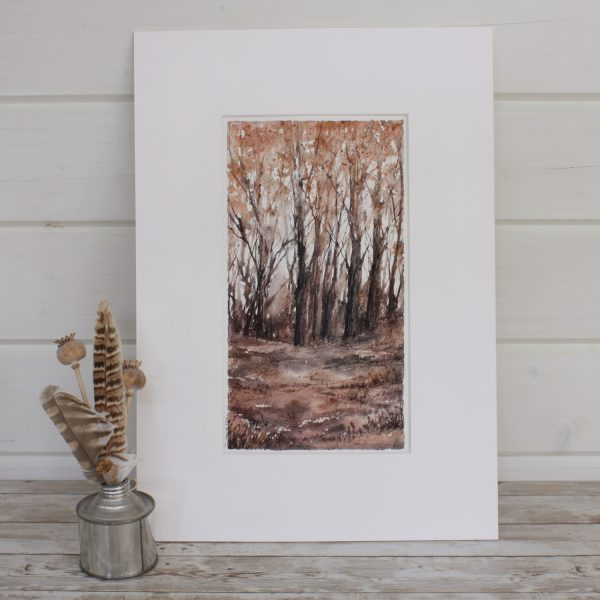 Autumn Woodland Series ixed Media Woodland painting with feather