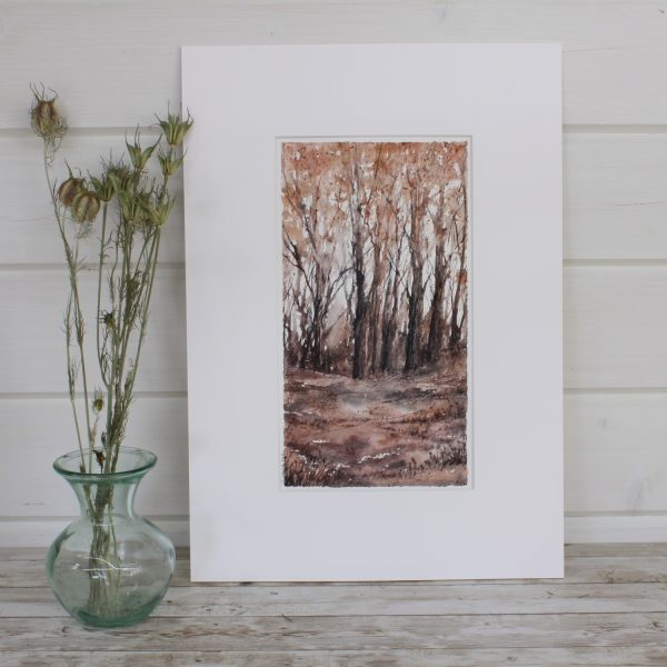 Autumn Mixed Media Woodland Series painting with seedheads