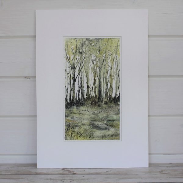 Mounted Spring mixed media painting