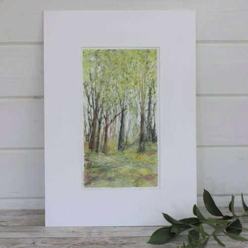 Summer Mixed Media Painting with sprig of leaves